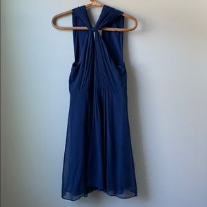 silk dark blue event dress